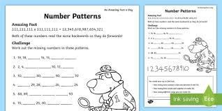 Number Patterns Custom Number Patterns Worksheet Activity Sheet July Amazing Fact