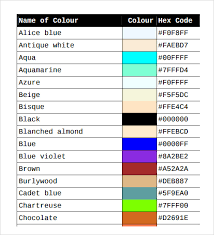 Paint Colour Mixing Chart Pdf Sample Color Chart Template 25 Free Documents In Pdf Word