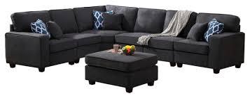 jocelyn dark gray woven 7 piece modular