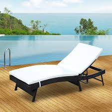 outsunny adjustable patio pool wicker chaise lounge rattan
