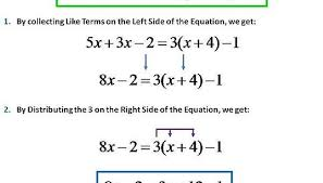 given the equation 5x 2 3x 3 x 4 1 to solve we will collect our like terms on the left hand side of the equal sign and distribute the 3 on