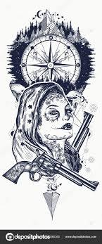 мексиканской уголовной тату искусства и футболку дизайн дикий запад
