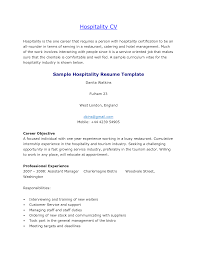 Resume Template Hospitality Industry Free Resume Example And