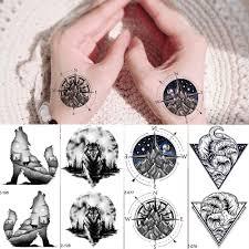 Rejaski Tělo Paže Ruce Tetování Samolepky ženy Horské Kompas