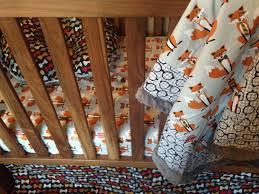 crib bedding set woodlands fox houndstooth baby boy