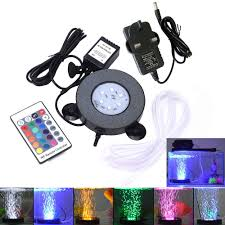 Aquarium Led Bubble Air Stone Light 6xsmd5050 Chips Rgb Spotlights 16colors Lamp For Garden Pond Pool 24key Remote Ac100 240v