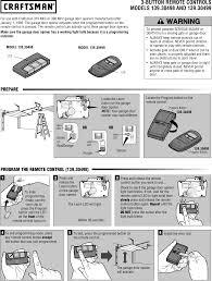 craftsman garage door opener 3 function visor remote control owners manual