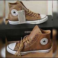 converse other converse brown leather hightop shoes 10 5 men s