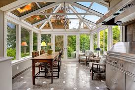 Sunroom with glass ceiling and walls