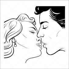 Kissing Couple In Retro Style Stock Vector Stepangil7 120206532