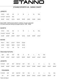 Keal Teamwear Size Charts