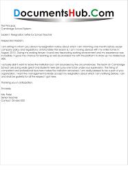 Letter Of Resignation Teacher Teacher Resignation Letters Resignation Letter Format Best Sample 12