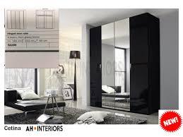 cetina black glass wardrobe 4 doors sliding wardrobe modern wardrobe bedroom furniture
