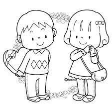 ホワイトデーの男の子と女の子のイラストぬりえ Kartlar