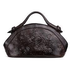 genuine leather cowhide embossed leather handbag rose pattern tote bag women shoulder cross messenger bags handbags