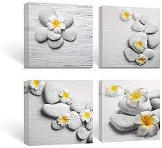 Sale bathroom sink framed wall decor 5 stars (2) was: Amazon Com Sumgar Framed Wall Art Bathroom Gray Yellow Flower Pictures Floral Canvas Paintings Zen Decor 4 Panel 12x12 In Posters Prints