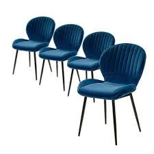 4er Set 6002490 Daisy Blau Samt Stuhl Vierfußstuhl Esszimmerstuhl Küchenstuhl Sessel