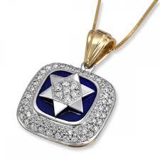 star of david 14k gold and diamond blue enamel square necklace jewish jewelry judaica web