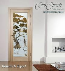 interior frosted glass door. Interior Frosted Glass Doors Etched Designs Wooden Style Birds  Natural Asian Decor Sans Soucie Bonsai Door R