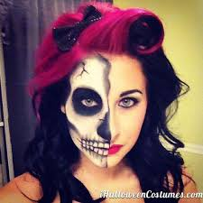 half face skull makeup for costumes 2016 costumes half face makeup skull make up and
