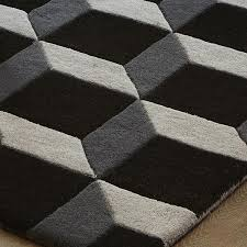 geometric geo04 wool rugs in black grey
