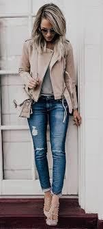 street style beige leather jacket denim and studded pumps