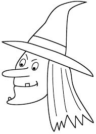 Small Picture Witch Face Coloring Page Halloween