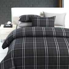tartan duvet covers king size modern boys leisure black and grey plaid bedding sets manly duvet