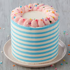 Confetti Of Fun Striped Cake Wilton