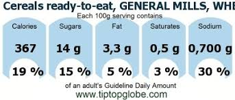 gda caloric and nutritional values cereals ready to eat general mills wheaties