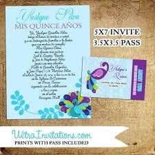 Peacock Invitations Peacock Invitations Quinceañera With Pass