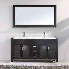 Virtu Usa Ava 63 Inch Double Sink Bathroom Vanity Set In Espresso W Integrated Round Sink White Engineered Stone Countertop Single Hole Polished Chrome 1 Mirror Md 499 S Es Bathroom Vanity And