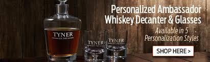 personalized ambassador whiskey decanter glasses sets available in 5 personalization styles here