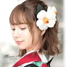 髪飾り 卒業式 リボン 花 椿 2点セット ショートヘア 袴用 白 ホワイト ロングヘア 縮緬 髪留