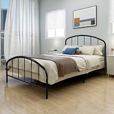 JURMERRY Metal Bed Frame Queen Bed Platform with Steel Headboard & Footboard Support Box Spring Black Queen Full Twin Mattress Foundation Double Beds ...