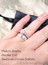 mama s jewelry asscher cut swarovski zirconia solitaire