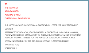 Sample Bank Statements Authorization Letter For Bank How To Write It 6 Free Samples