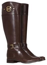 michael kors mk stockard mk logo leather tall fall 40f3admb5l cofee brown boots image 0