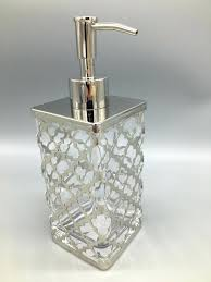 glass soap pump detergent dispenser with bronze