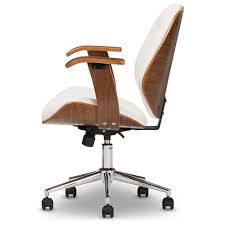 White walnut office furniture Homegram Baxton Studio Rathburn Modern And Contemporary White And Walnut Office Chair Sd2235 Wholesale Interiors Wholesale Office Chairs Wholesale Home Office Furniture