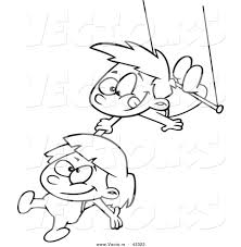 Small Picture Vector of a Happy Cartoon Boy and Girl Playing on a Trapeze