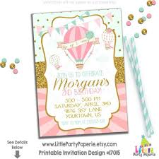 Balloon Birthday Invitations Hot Air Balloon Birthday Invitation Hot Air Balloon Party