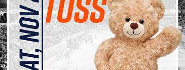 all fans are encouraged to bring a teddy bear or other stuffed to be thrown onto the ice when the condors score the teddy bears will be collected