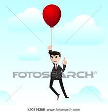 Cartoon Businessman With Floating Balloon Clip Art