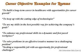 Career Objective Resume Sample Career Objectives Examples For Resumes