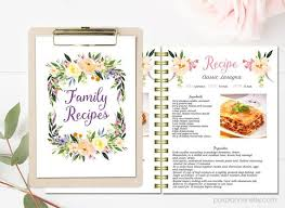 fl printable cook book editable recipe template recipe pages pattern blank recipe book insta