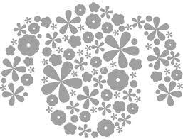 たくさんの花でできた白黒の犬イラスト無料おしゃれ顔82798 素材good