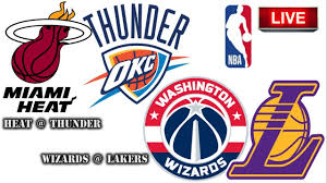 HEAT vs THUNDER // WIZARDS vs LAKERS - NBA Live Scoreboard - YouTube