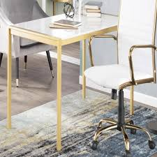 Lumisource Fuji Dining Table In Gold And White Marble Table Only