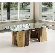 acacia freeform glass top coffee table 24 x 48